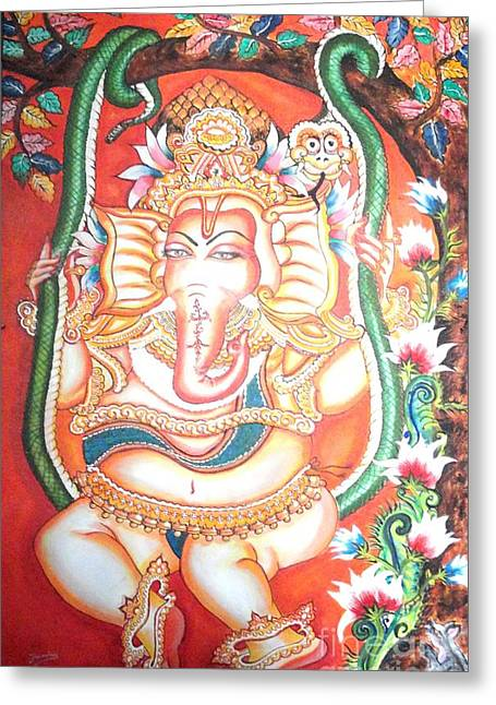 Kami A Paintings Greeting Cards - Baby Ganesha swinging on a snake Greeting Card by Jayashree