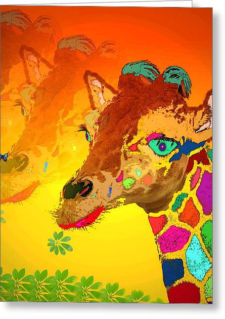 Spacial Greeting Cards - Baby Giraffe 2A Greeting Card by Joyce Dickens