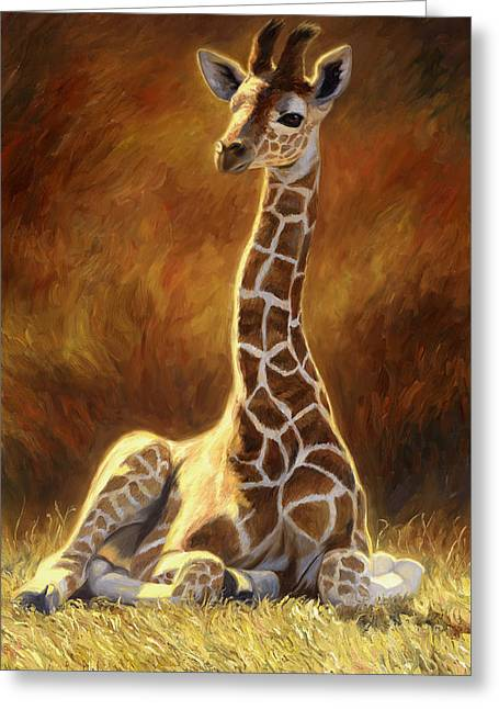 Outdoors Paintings Greeting Cards - Baby Giraffe Greeting Card by Lucie Bilodeau