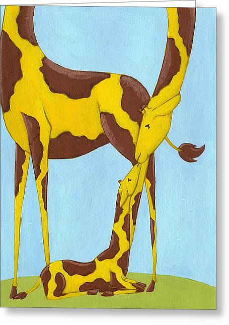 Jungle Animals Greeting Cards - Baby Giraffe Nursery Art Greeting Card by Christy Beckwith