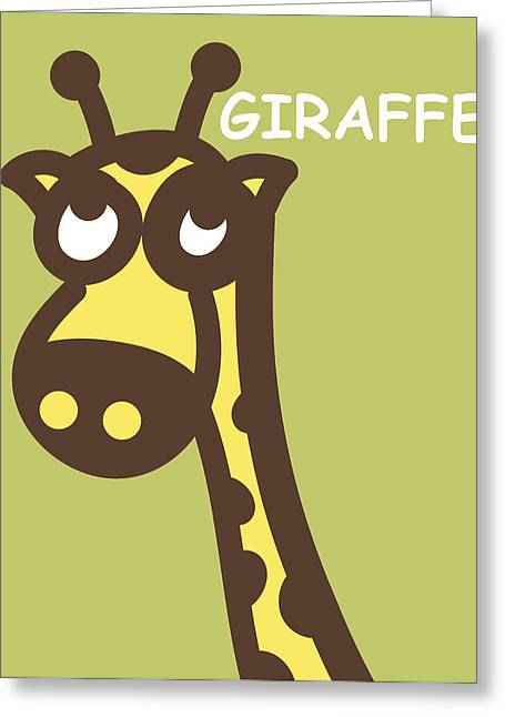 Triplets Greeting Cards - Baby Giraffe nursery wall art Greeting Card by Nursery Art