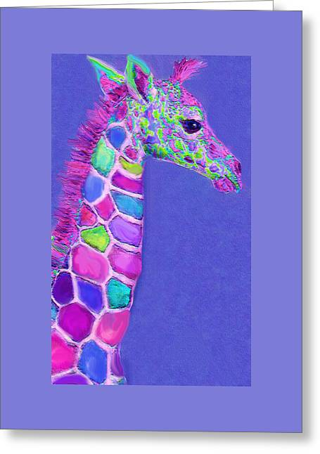 Baby Room Greeting Cards - Baby Giraffe Pink And Purple Greeting Card by Jane Schnetlage