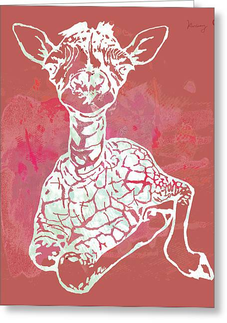 The Family Greeting Cards - Baby Giraffe -  pop modern etching art poster Greeting Card by Kim Wang