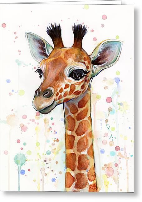 Giraffe Greeting Cards - Baby Giraffe Watercolor Painting Greeting Card by Olga Shvartsur