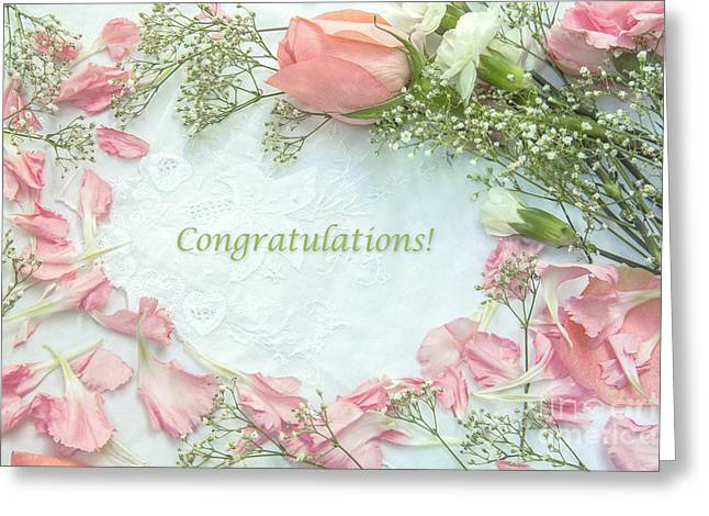 Rose Petals Greeting Cards - Baby Girl Congratulatory Card Greeting Card by Diane Diederich