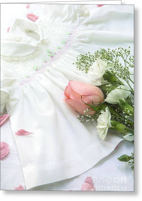 Announcement Greeting Cards - Baby Girl Dress Greeting Card by Diane Diederich