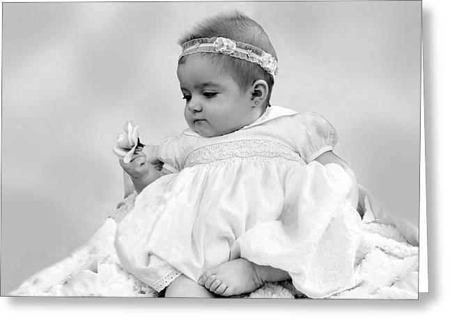 White Smock Greeting Cards - Baby Girl Holding Flower Black and White Greeting Card by Sally Rockefeller