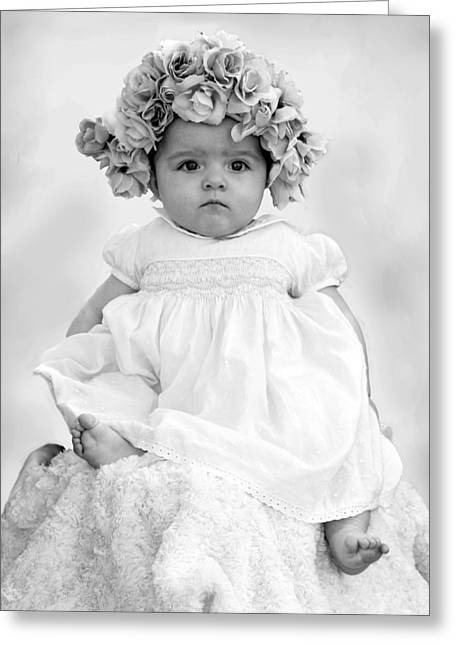 White Smock Greeting Cards - Baby Girl in Flower Bonnet Black and White Greeting Card by Sally Rockefeller