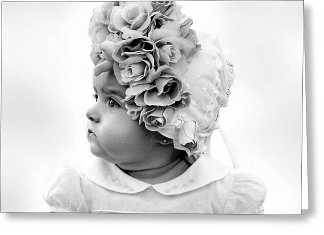 White Smock Greeting Cards - Baby Girl Profile in Flower Bonnet Black and White Greeting Card by Sally Rockefeller