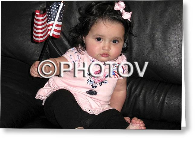 Voted Images Greeting Cards - Baby girl with an American flag and voting sticker - Limited Edition Greeting Card by Hisham Ibrahim
