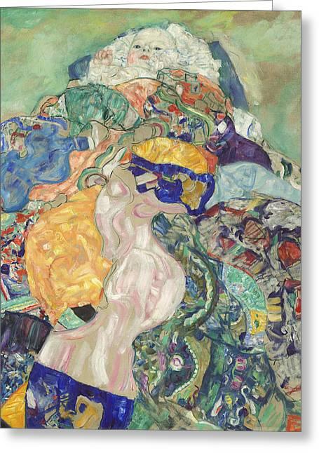 Baby Cradle Greeting Cards - Baby Greeting Card by Gustav Klimt