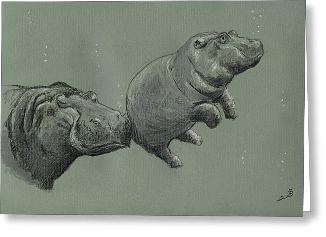 Hippos Greeting Cards - Baby hippo Greeting Card by Juan  Bosco