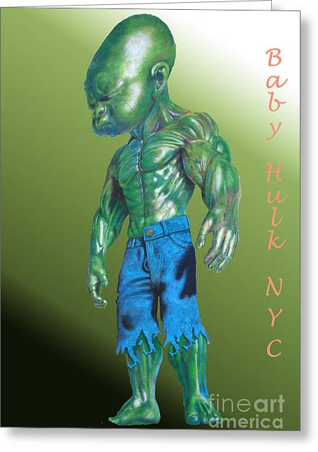 Cushion Greeting Cards - Baby Hulk  green colored Greeting Card by  ILONA ANITA TIGGES - GOETZE  ART and Photography