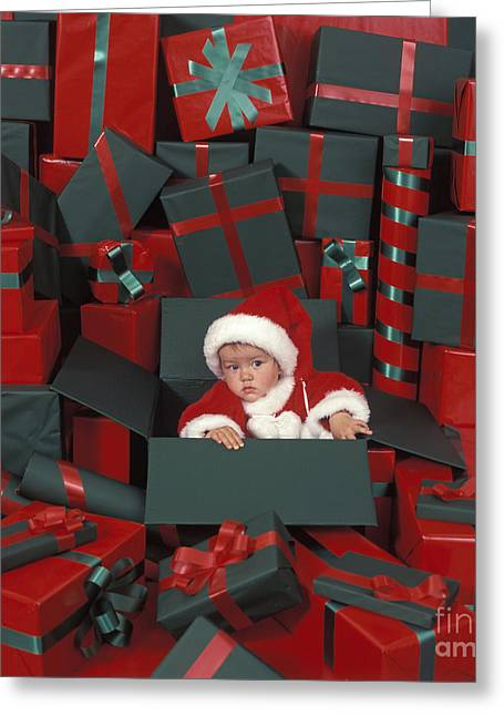Wrap Dress Greeting Cards - Baby In Christmas Box Greeting Card by Picture Partners