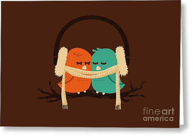 Love Bird Greeting Cards - Baby it is cold outside Greeting Card by Budi Kwan