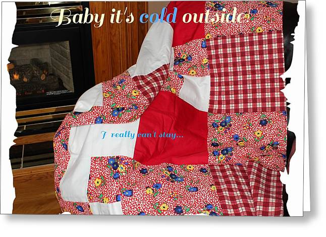 Outside Tapestries - Textiles Greeting Cards - Baby Its Cold Outside Quilt  Greeting Card by Barbara Griffin
