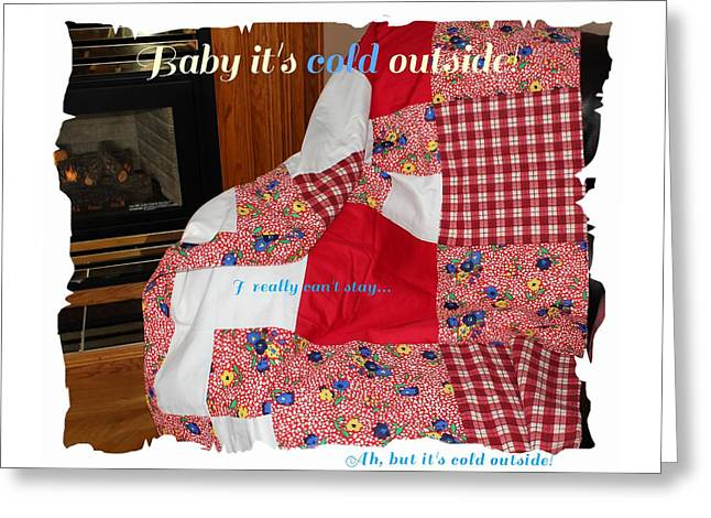 For Sale Tapestries - Textiles Greeting Cards - Baby Its Cold Outside Quilt  Greeting Card by Barbara Griffin