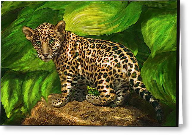 Jaguars Digital Greeting Cards - Baby Jaguar Greeting Card by Jane Schnetlage