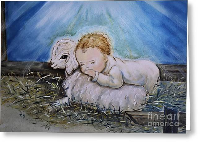 Nava Jo Thompson Greeting Cards - Baby Jesus Little Lamb Greeting Card by Nava  Thompson