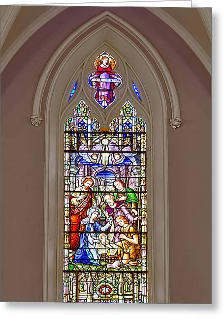 Virtuous Greeting Cards - Baby Jesus Stained Glass Window Greeting Card by Susan Candelario