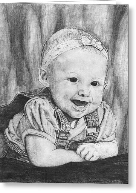 Suspenders Drawings Greeting Cards - Baby Kallie Greeting Card by Jay Alldredge