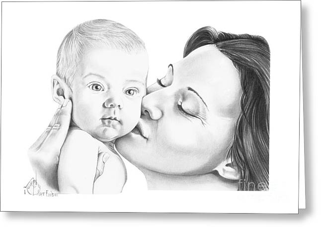 Pencil Drawing Greeting Cards - Baby Kiss Greeting Card by Murphy Elliott