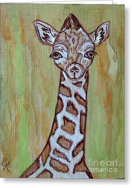 Longneck Greeting Cards - Baby Longneck Giraffe Greeting Card by Ella Kaye Dickey