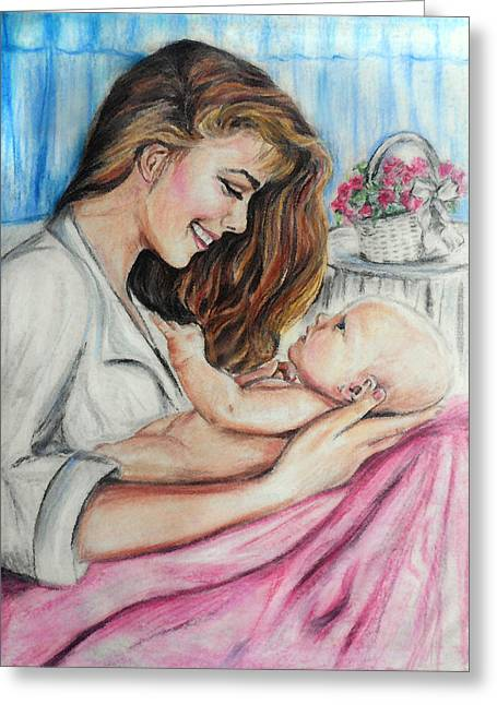 Basket Pastels Greeting Cards - Baby Love Greeting Card by Melanie Alcantara Correia
