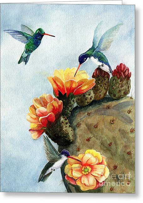 Hummingbirds Greeting Cards - Baby Makes Three Greeting Card by Marilyn Smith