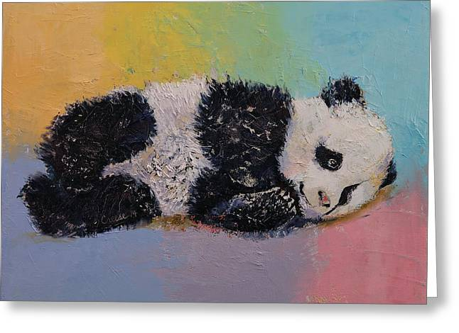 Shower Paintings Greeting Cards - Baby Panda Rainbow Greeting Card by Michael Creese