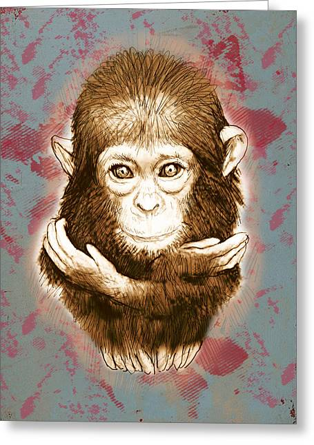 Old World Mixed Media Greeting Cards - Baby Monkey - stylised drawing art poster Greeting Card by Kim Wang