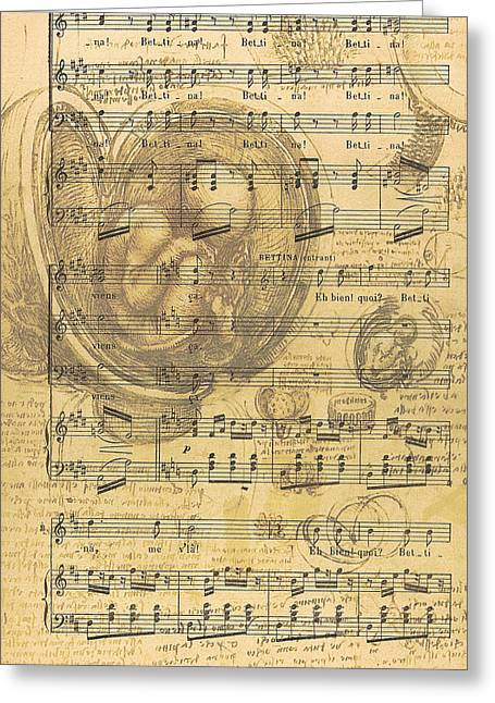 Etching Digital Greeting Cards - Baby Music Greeting Card by Nomad Art And  Design