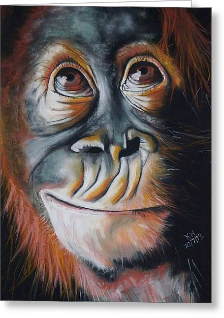 Orangutan Pastels Greeting Cards - Baby Orangutan Greeting Card by Kevin Hubbard
