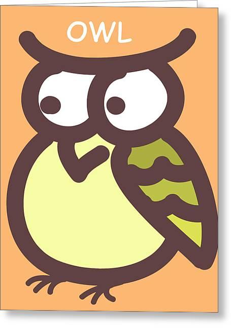 Nursery Art Greeting Cards - Baby Owl Nursery Wall Art Greeting Card by Nursery Art