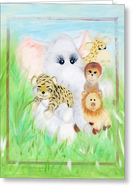 Reprint Greeting Cards - Baby Painting Greeting Card by Leslie Brunton