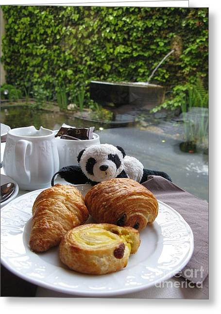 Baby Panda And Croissant Rolls Greeting Card by Ausra Huntington nee Paulauskaite