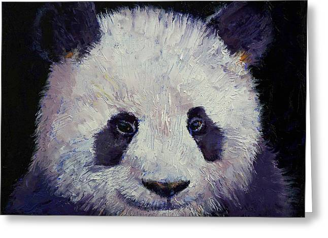 Kids Artist Greeting Cards - Baby Panda Greeting Card by Michael Creese