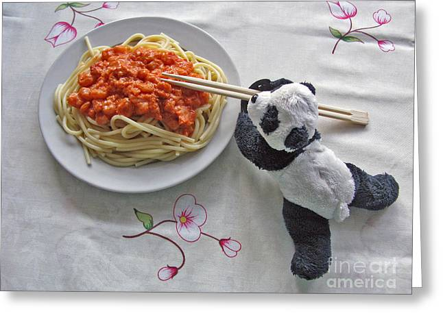 Spaghetti Noodles Greeting Cards - Baby Panda Tasting Spaghetti  Greeting Card by Ausra Paulauskaite