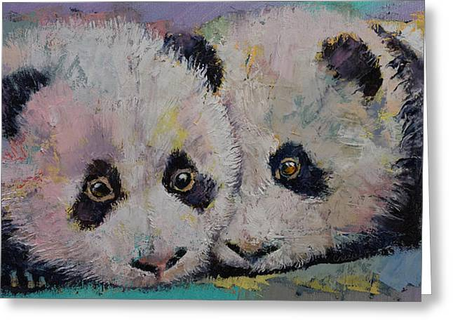 Cuddly Greeting Cards - Baby Pandas Greeting Card by Michael Creese
