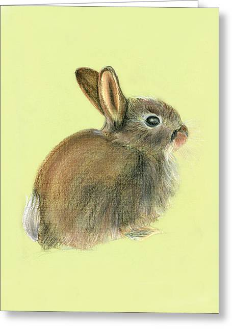 Frith Greeting Cards - Baby Rabbit in Pastels Greeting Card by Alison Langridge