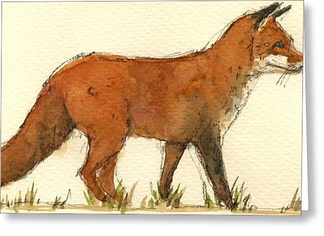 Red Fox Greeting Cards - Baby red fox Greeting Card by Juan  Bosco