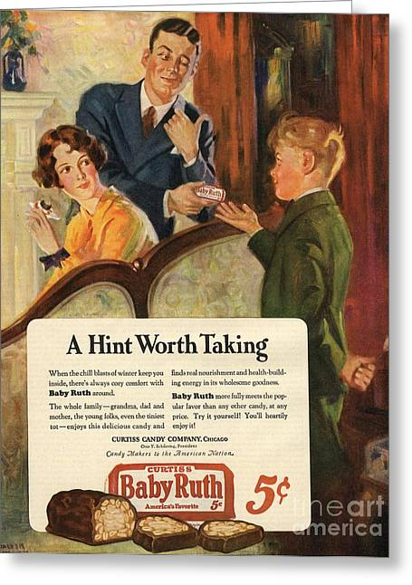 Candy Drawings Greeting Cards - Baby Ruth 1927 1920s Usa Chocolate Greeting Card by The Advertising Archives