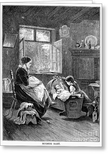 Babysitting Greeting Cards - Baby Scene, 1873 Greeting Card by Granger