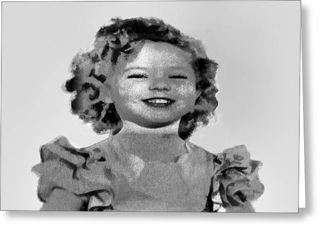 Baby Shirley Temple Sketch Greeting Card by Linda Phelps