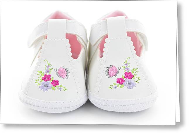 Baby Girl Greeting Cards - Baby shoes Greeting Card by Elena Elisseeva