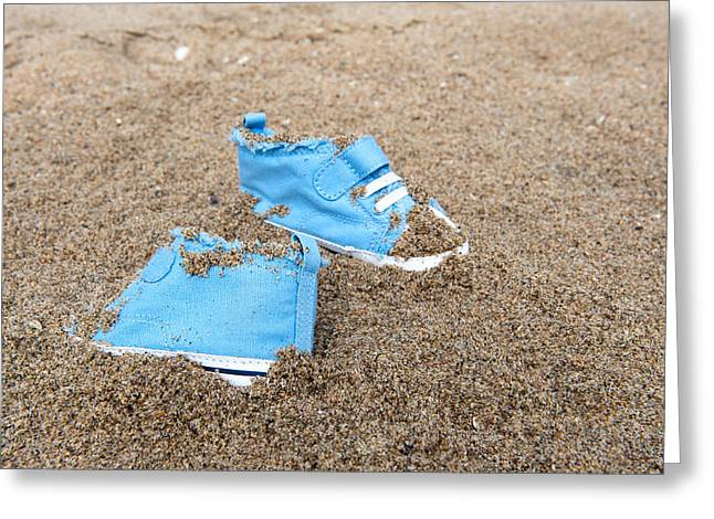 High Top Tennis Shoes Greeting Cards - Baby shoes on beach Greeting Card by Joe Belanger