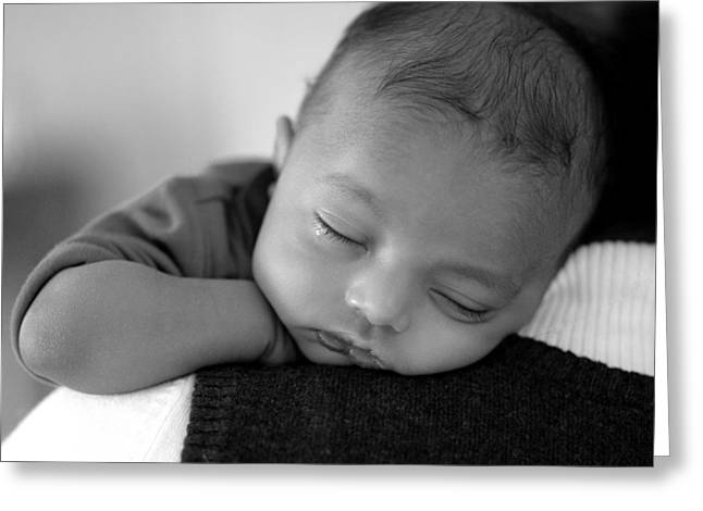 Baby Sleeps Greeting Card by Lisa Phillips