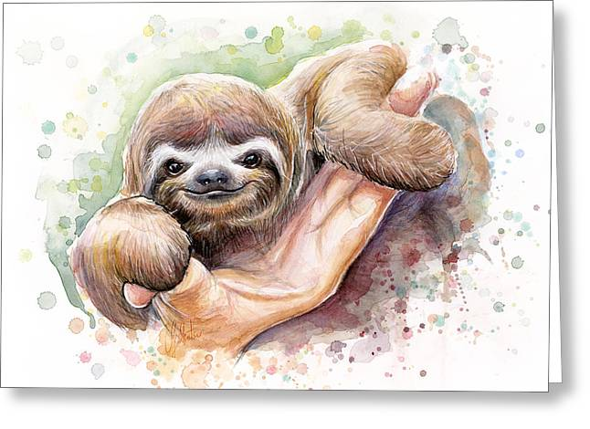 Nursery Mixed Media Greeting Cards - Baby Sloth Watercolor Art Greeting Card by Olga Shvartsur