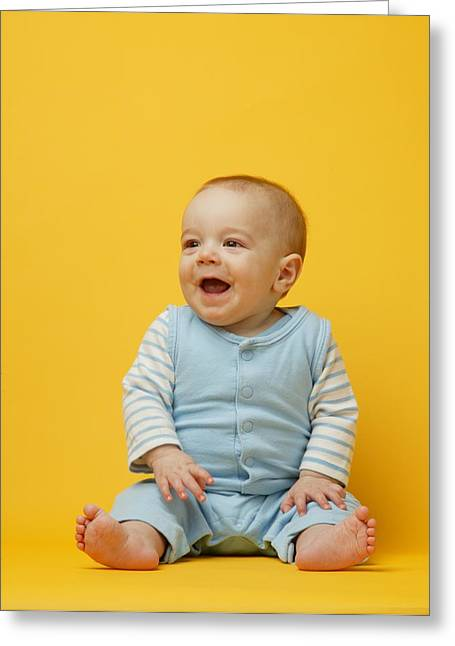 Innocence Greeting Cards - Baby Smiles Greeting Card by Darren Greenwood