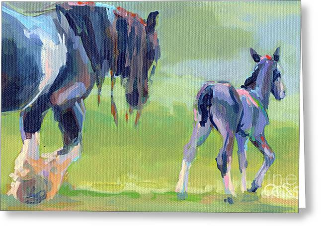 Gypsy Vanner Horse Greeting Cards - Baby Steps Greeting Card by Kimberly Santini